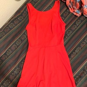 HM Red Sleeveless Skater Dress Size 4
